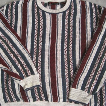1980s Coogi Style Stripe Slouch Sweater Jumper - 100% Cotton - Mens Oversize XL