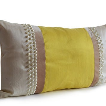 Elegant Sunshine Decorative Throw Pillow Cover Cushion In Ivory Yellow Silk Beige Velvet Cushion