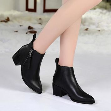Womens Stylish Moto Black Ankle Boots