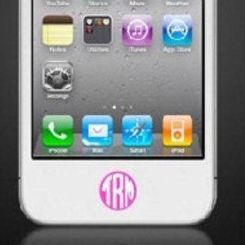 Set of 6 iPhone Home Button Monogram Decal Sticker 2 color