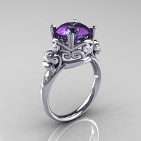 Modern Vintage 14K White Gold 3.0 Carat Russian Alexandrite Diamond Wedding, Engagement Ring R167-14KWGDAL