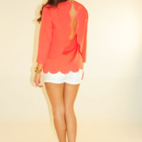 Simply Scalloped Top: Coral | Hope's