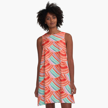 'Sacred Geometry Pattern -Red-blue' A-Line Dress by Cveta