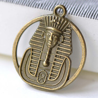 Egyptian Pharaoh Ring Pendants Antique Bronze Round Charms 23mm Double Sided Set of 10 A8168