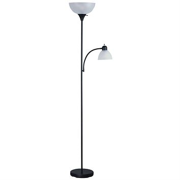 72-inch Tall Black Floor Lamp with Adjustable Reading Side Lamp