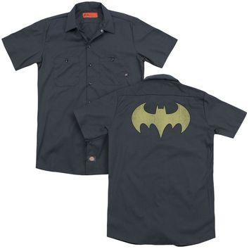Dc - Batgirl Logo Distressed (Back Print) Adult Work Shirt