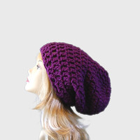 Deep Purple Super Slouchy Crochet Hat