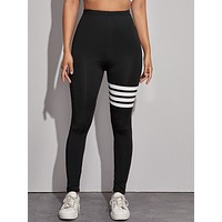 Color-Block Striped Elastic Waist Leggings
