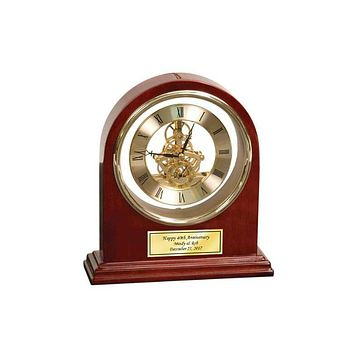 Personalize Arch Cherry Da Vinci Clock with Gold Engraving Plate Anniversary Wedding Birthday Gift Retirement Present Recognition Boss