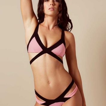 Mazzy Bikini Bottom Baby Pink And Black