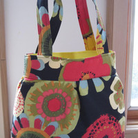 Canvas, Handbag, Purse, Ipad, Netbook, Tote, Shoulder bag ,Pleated bag, Made in USA Colorful Abstract Floral