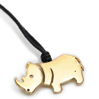 Lovely Rhino Handmade Brass Necklace Pendant Jewelry