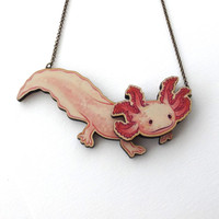 Laser Cut Axolotl Statement Necklace - Newt Salamander Amphibian Pond Fish Axolotl Mermaid Animal Aquarium Pet Jewellery Birch Please