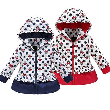 Minnie winter jacket for Girl Warm Hooded Imitation leather windbreak Children Coats Cotton Baby clothes Kids Jackets Coat parka
