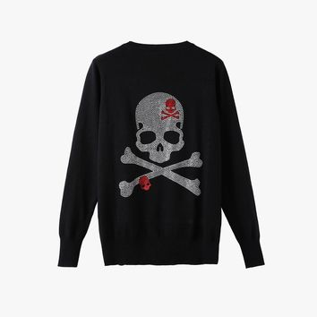 Brand Diamonds Gun Skull Women knitted Cardigans long sleeve single breasted women sweater plus size