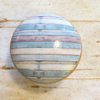 Distressed Wood Knob Drawer Pulls, Blue White Beach Weathered Wood, Old Wood Cabinet Handles,  Reclaimed Wood, Made To Order, Style 10