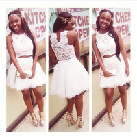 Two pieces White Lace Cute Sweet Homecoming Dress,Short Prom Dress