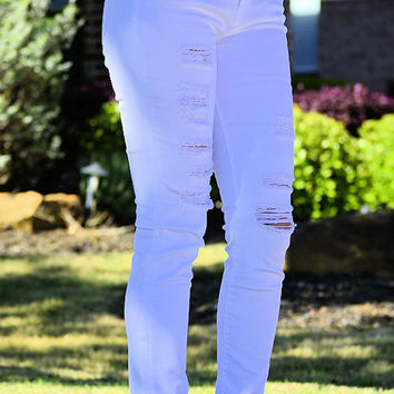 Ripped Skinny Jeans-White