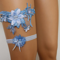 Wedding Garter,Blue Lace Bridal Garter,Wedding Accessory,Bridal Lingerie,Wedding Lingerie,