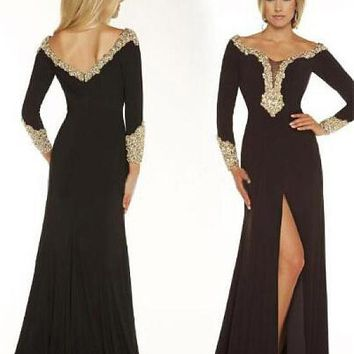 [119.99] Attractive Chiffon Off-the-shoulder Sheath Evening Dresses With Beaded Lace Appliques - dressilyme.com