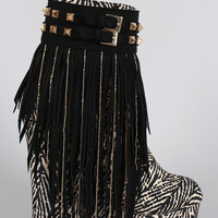 Tribal Studded Suede Chain Fringe Platform Wedge Bootie