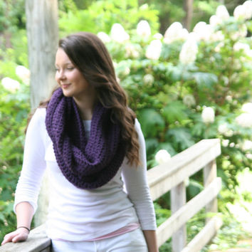 CROCHET PATTERN  For Infinity Cowl Scarf Crochet Scarf / The Auray /  Eggplant  Purple
