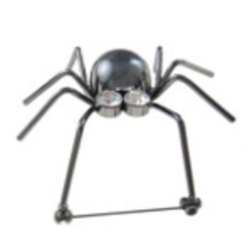 Insect Series Mirror Finish Metal & Rhinestone Spider Brooch