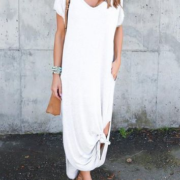 White Pockets Draped Double Slit Knot V-neck Casual Going out Maxi Dress