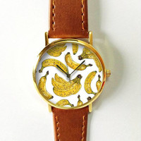 Banana Summer Watch 3, Vintage Style Leather Watch, Women Watches, Boyfriend Watch, Yellow