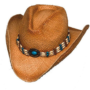 Raffia Straw Cowboy Hat with Turquoise Beaded Band & Elastic Band - Brown - L/XL