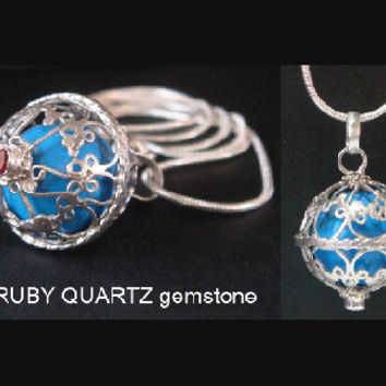 Sterling Silver Harmony Ball with RUBY QUARTZ Gemstone on 925 Cage with BLUE Chime Ball | Pregnancy Gift, Bola Necklace, Angel Caller 401