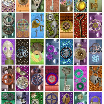 "steampunk metals digital download 1"" x 2"" Printable Images for Pendants Scrapbooking Digital Collage Sheet - Instant Download"