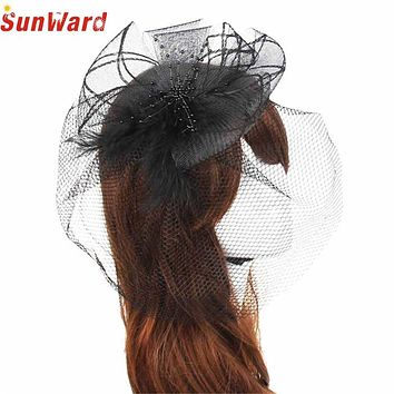 Hard Yarn Headband SUNWARD delicate Wedding Fascinator Veil Feather Hats Women Brides Hair Accessories May28  Selling W7