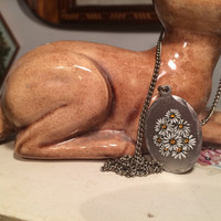 genuine pewter vintage Daisy necklace, floral, flowers, vintage jewelry