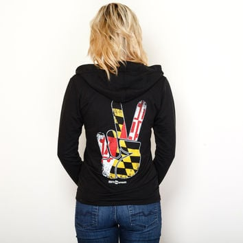 Maryland Peace (Black) / Ladies Terry Hoodie