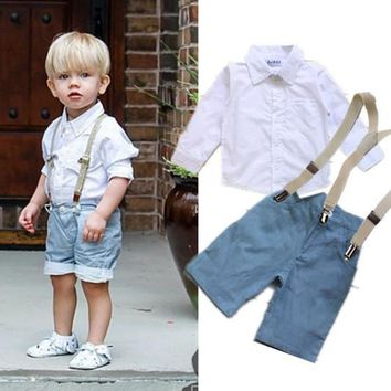 Boys Shirt, Bow Tie, & Pants or Shirt & Shorts with Suspenders Set: 2 Styles!