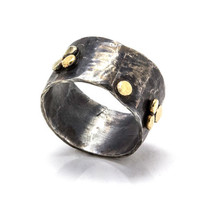 Oxidized silver ring embedded with 14k gold balls - One of a kind wide band ring - Wide Wedding band