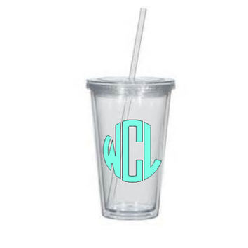 Circle Monogram Tumbler - Monogrammed Cup - Bridesmaid Gift - Birthday - Sorority - Wedding - Personalized Tumbler - Bachelorette - Easter