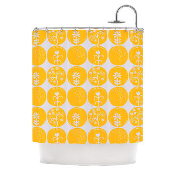 "Anneline Sophia ""Dotty Papercut Yellow"" Circles Gray Shower Curtain"