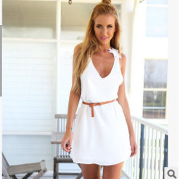 Sleeveless White Backless Lace One Piece Dress [10118044301]