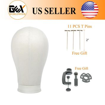 """GEX 21""""/22""""/23""""/24""""/25""""Poly Head Canvas Block Head Hair Extension/Weft/Wig Display Style Styling Mannequin Manikin Head Dryer"""