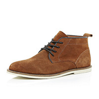 River Island MensBrown suede lace up chukka boots
