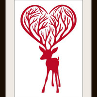 Red Reindeer Silhouette Cross Stitch Pattern | Los Angeles Needlework