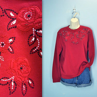 vintage 80s sweatshirt top . red BANDANA design . embroidered beaded . slouchy blouse