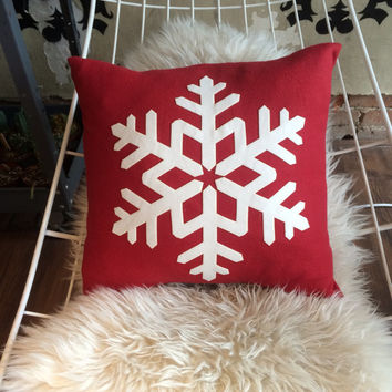 Jumbo snowflake throw pillow case - soft cuddly fleece & an optional fluffy down pillow - festive winter holiday decoration for bed or couch