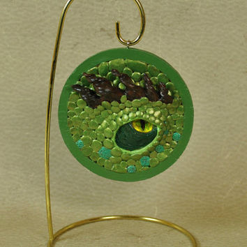 Elder Green Dragon Eye Ornament, OOAK Dragon Sculpture, Metallic Green Dragon, One of a Kind Dragon Eye Christmas Ornament Handmade Original