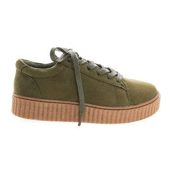 Stealthy01M Olive Green Classic Round Toe Lace Up Flat With Platform Ribbed Tooling Sneaker