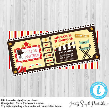 Movie Birthday Party Invitations, Movie night invitations, Movie Party Invite, Printable Movie Party Invite, Movie Ticket Template, MOV1