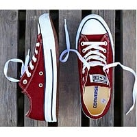 Converse New fashion canvas solid color couple shoes Burgundy
