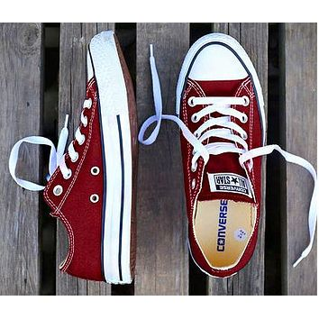 Converse Fashion Women Men Casual Canvas Flats Sneakers Sport Shoes Burgundy